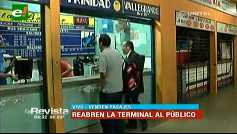 Santa Cruz: Se normaliza la atención en la terminal de buses