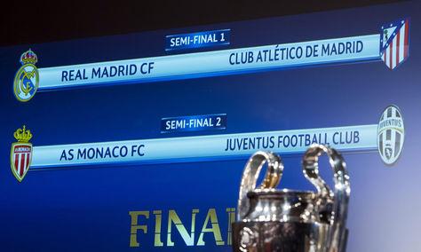 La pantalla muestra los cruces de las semifinales de la Liga de Campeones celebrado en Nyon (Suiza). Foto: EFE