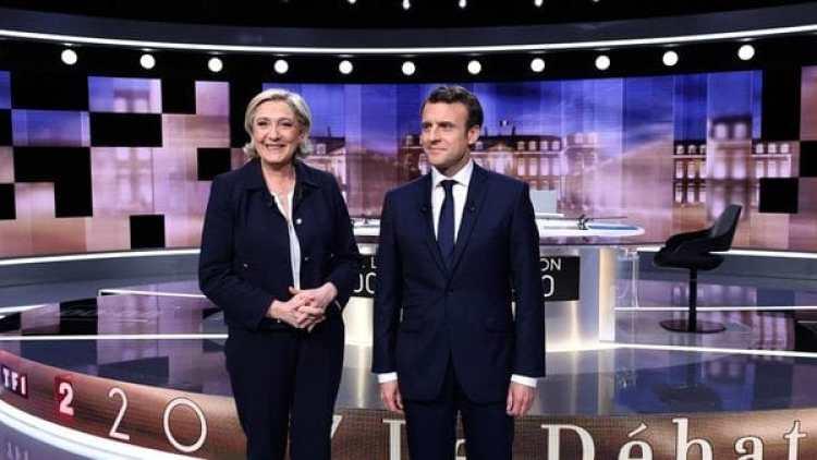 Macron, en el debate con Marine Le Pen (AFP)