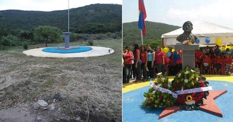 Desaparición de un busto de Hugo Chávez en Ureña, estado Táchira / Foto @EnkiVzla