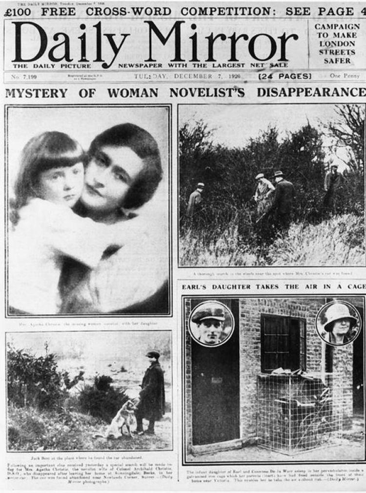 """Los medios británicos dieron amplia cobertura a la desaparición de Agatha Christie: """"Misterio por la desaparición de la novelista"""", tituló el Daily Mirror"""