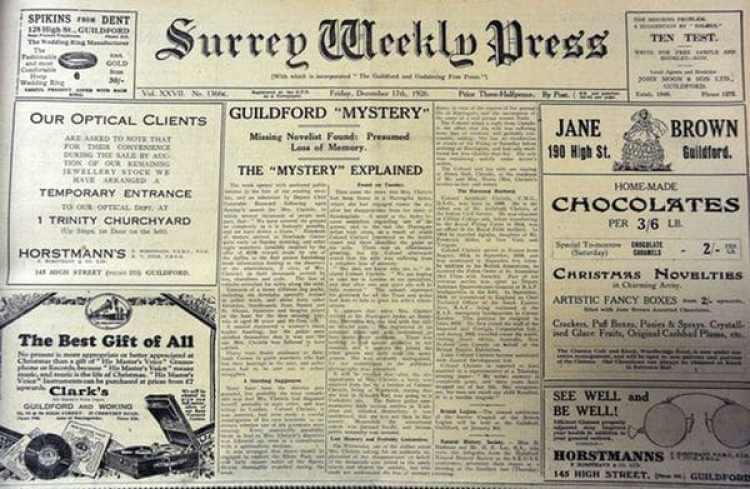 Otra portada de un diario inglés dando cuenta de la desaparición de Agatha Christie