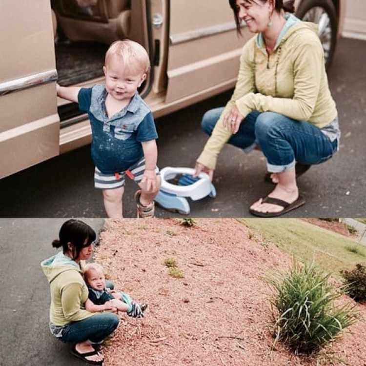 Andrea Olson, una de las seguidoras del método basado en la comunicación con los bebés, asegura que el mismo se puede implementar fuera de la casa mediante bacinillas portátiles. Foto cortesía Daily Mail