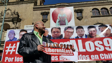 El defensor David Tezanos Pinto en el lanzamiento de la campaña para la liberación de los nueve bolivianos.