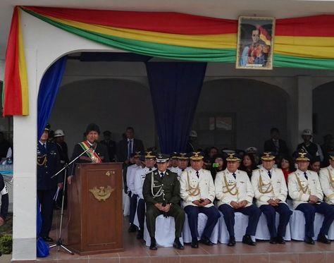 El presidente Evo Morales en la celebración del LXV aniversario del Colegio Militar de Aviación.