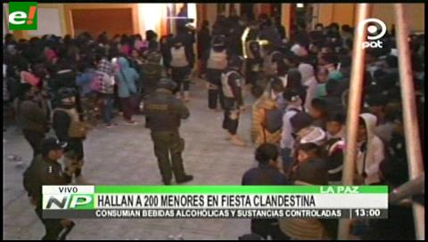 El Alto: Sorprenden a 200 menores en fiesta clandestina con trago y droga