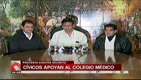 Comité Pro Santa Cruz expresó su apoyo al Colegio Médico y piden una solución