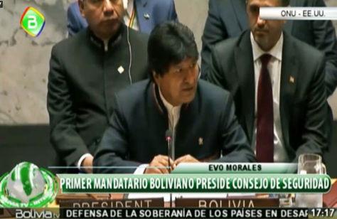 Morales emite un breve discurso a la conclusión de la Sesión del Consejo de Seguridad de la ONU