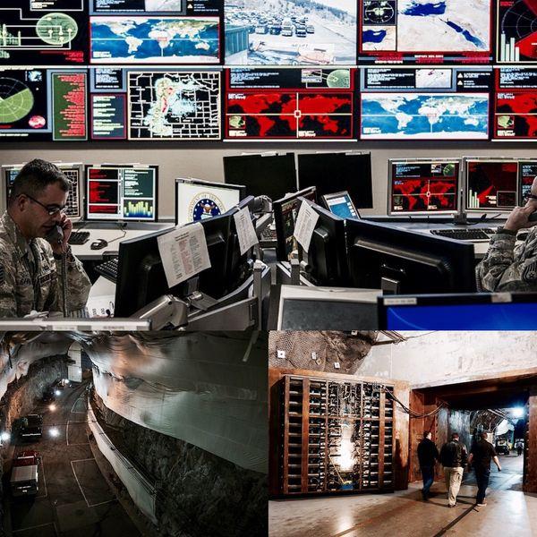 Centro de Operaciones de NORAD. Debajo túneles internos y detalle de la compuerta principal capaz de resistir los pulsos electromagnéticos tras una explosión nuclear