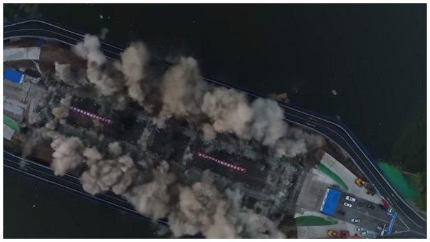 YouTube: destruyen un puente en China en tan solo 3 segundos (VIDEO)