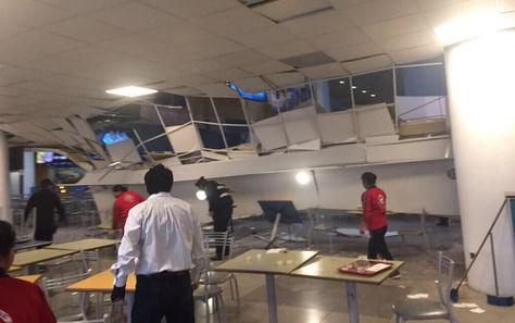 Deterioros en el segundo nivel del complejo MegaCenter en La Paz. Foto: Sociedad Nacional de Ingenieros de Bolivia