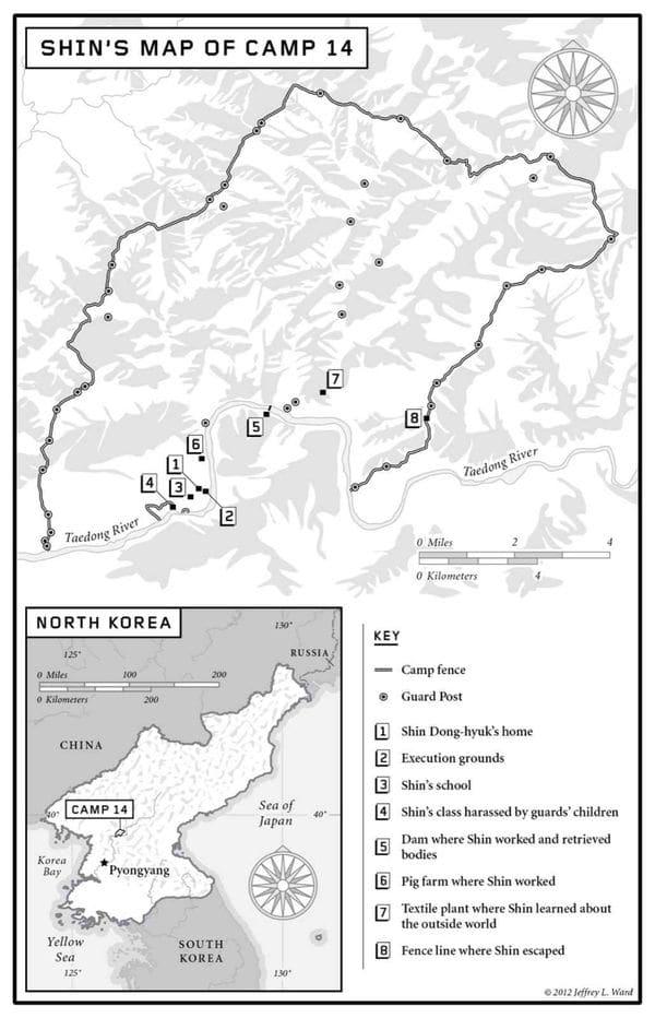 El Campo 14, un campo de concentración al norte de Pyongyang, según el recuerdo de Shin Dong-hyuk, la única persona que se conoce que nació y escapó de allí.