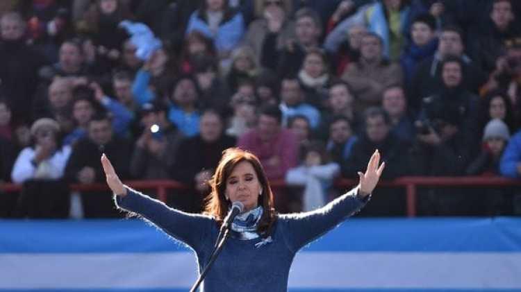 Cristina Kirchner, durante el acto esta semana en la cancha de Arsenal (Adrián Escandar)