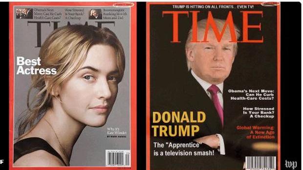 La portada verdadera (izquierda) frente a la falsa difundida en los clubes de Trump (derecha)