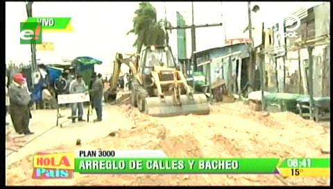 Inician bacheo en la avenida del mercado del Plan 3.000