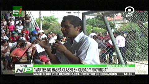 """Azcárraga: """"Martes no habrá clases escolares en Santa Cruz"""""""