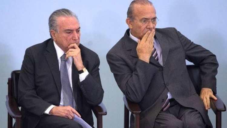 Temer junto al ministro Eliseu Padilha, también incluido en la investigación. (AFP)