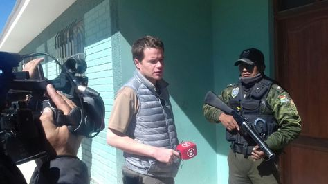 El periodista chileno Davor Yuranovich en el recinto penitenciario en Uyuni, Potosí