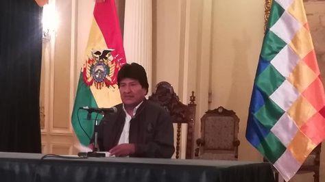 El presidente Evo Morales en conferencia de prensa este sábado.