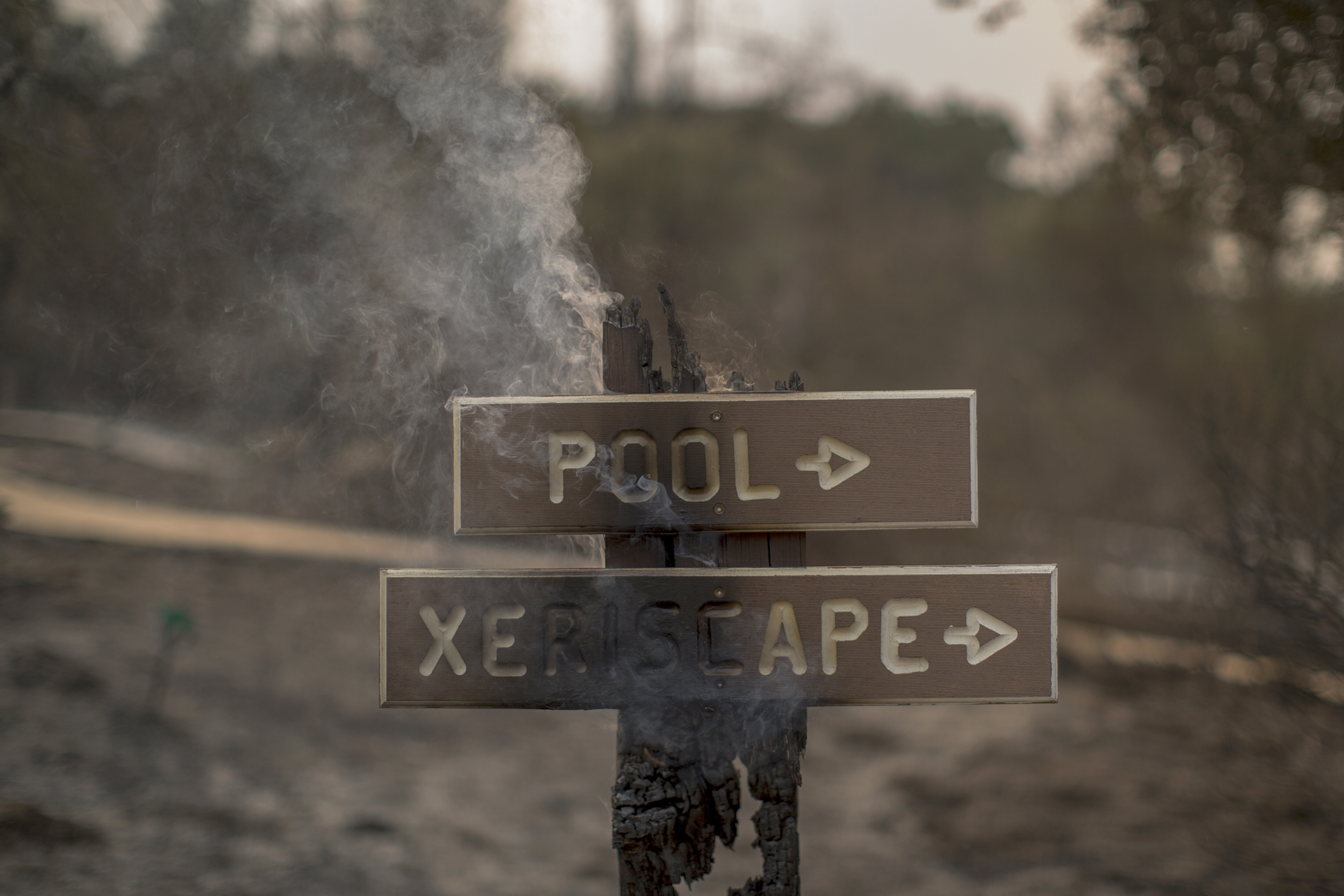 SANTA BARBARA, CA – JULY 09: A sign smolders near structures at Rancho Alegre Boy Scouts of America outdoor school that were destroyed by the Whittier Fire on July 9, 2017 near Santa Barbara, California. The Whittier Fire and the Alamo Fire together have blackened more than 30,000 acres of chaparral-covered hills in Ventura County. Statewide, about 5,000 firefighters are fighting 14 large wildfires. David McNew/Getty Images/AFP
