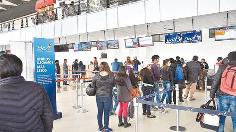 El Alto. BoA es una de las empresas que efectúa vuelos a EEUU.