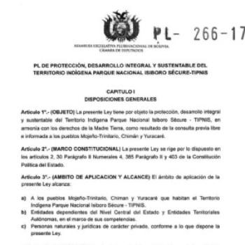 Entra al Legislativo proyecto para quitar la intangibilidad al TIPNIS