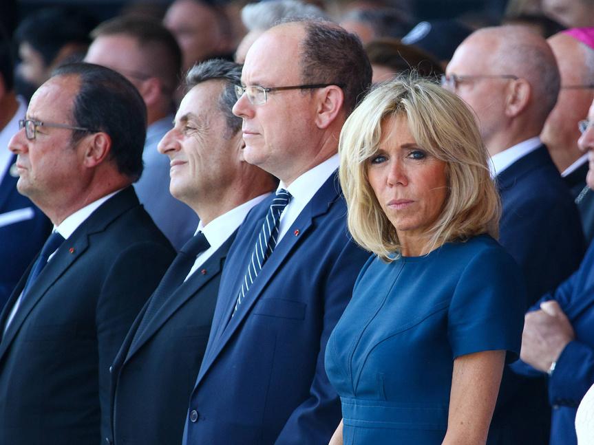 Brigitte Marcon con Francois Hollande, Nicolas Sarzozy y Alberto de Mónaco durante el homenaje a las víctimas del atentado en Niza.