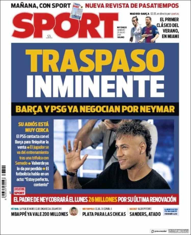 El diario Sport de España anticipa que Neymar se irá al PSG