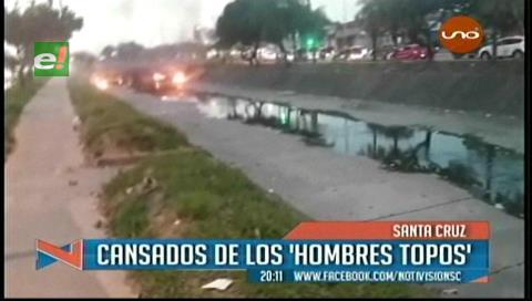 """Vecinos corrieron a palos a los """"hombres topos"""" de los canales"""