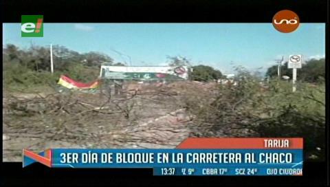 Tercer día de bloqueo en la zona del Chaco tarijeño