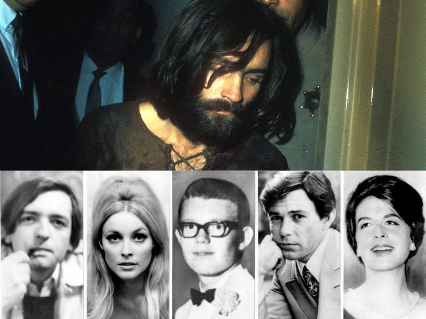 Charles Manson sobre el retrato de las cinco víctimas del gran asesinato de su Familia: Frykowski, Sharon Tate, Steve Parent, Jay Sebring y Abigail Folger.