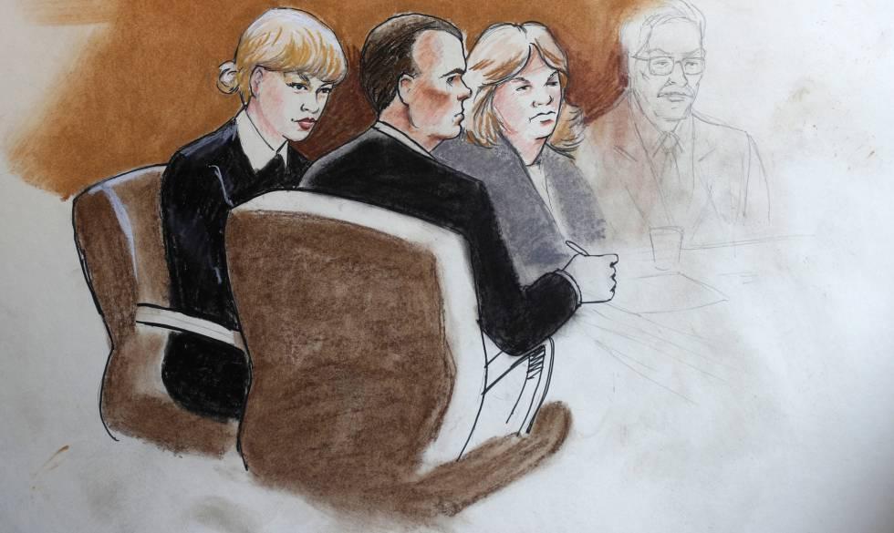 Representación gráfica del juicio. Taylor Swift, junto a su abogado y su madre.