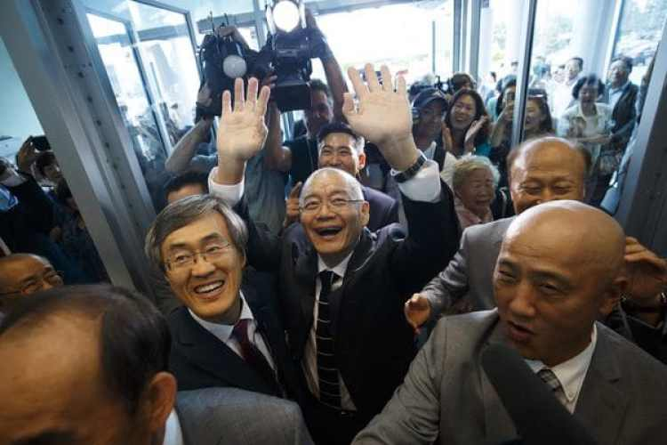 La llegada de Hyeon Soo Lim en su iglesia (AFP)