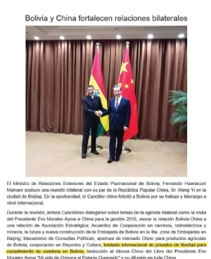 Traslado de presos al país entra en la agenda bilateral con China