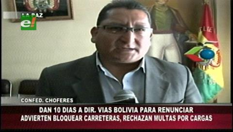 Transportistas exigen renuncia de directora de Vías Bolivia, anuncian movilizaciones