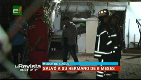 Niño de 6 años salva a su hermano de 8 meses del incendio en su vivienda