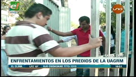 Los trabajadores de la Uagrm toman el campus exigiendo pagos