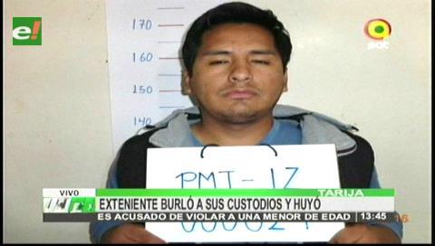 Tarija: Expolicía se fugó y sus custodios fueron aprehendidos por complicidad