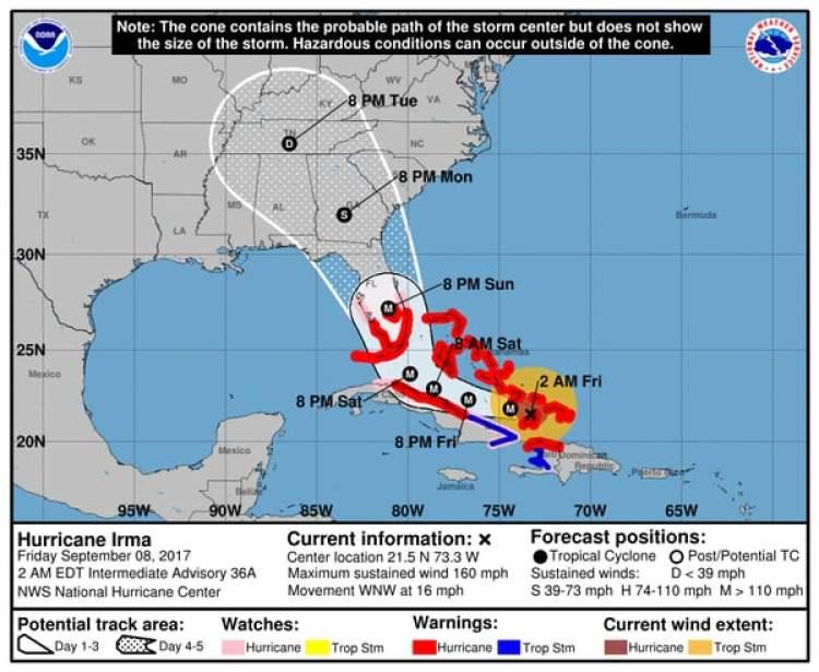 Pronóstico del Huracán Irma. Boletín de las 2 am – viernes 8