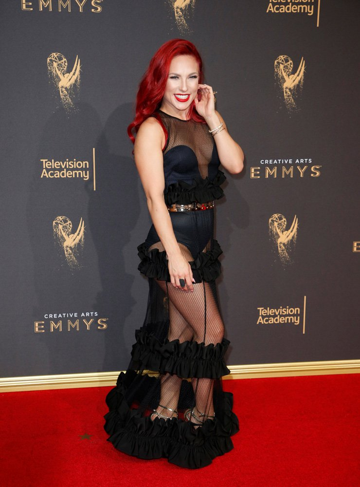 Dancer Sharna Burgess poses at the 2017 Creative Arts Emmy Awards in Los Angeles, California, U.S. September 9, 2017. REUTERS/Danny Moloshok