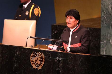 El presidente Evo Morales Ayma durante su alocución en el 72º Periodo Sesión de la Asamblea General de la ONU. Foto: ABI