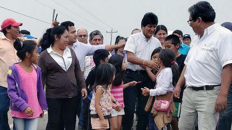 El presidente Evo Morales en el municipio de Concepción. Foto:Ministerio de Comunicación