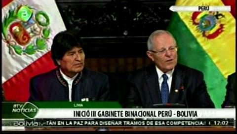 Lima. Morales y Kuczynski inician III reunión del gabinete binacional