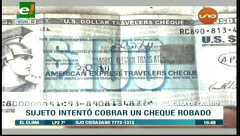 Detienen a sujeto que intentó cobrar un cheque robado