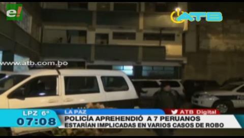 Siete peruanos que se dedicaban a robar fueron aprehendidos