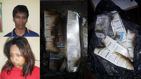 Las personas aprehendidas por el robo de tarjetas a Entel y el botín quemado.