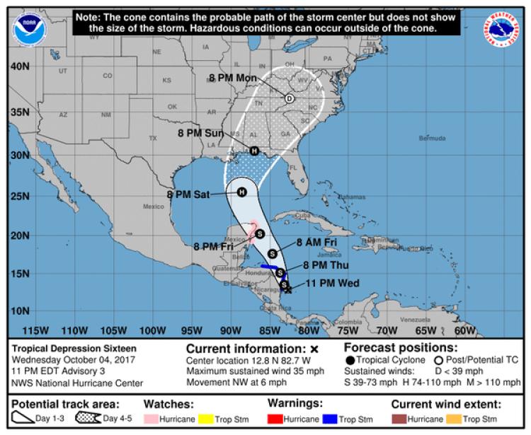 El recorrido posible de la tormenta 16. Boletín de las 11 pm, miércoles 5 de octubre (Centro Nacional de Huracanes)