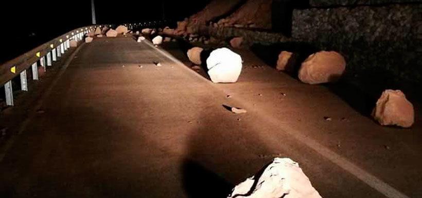 Ruta 5 en Arica interrumpida por deslizamiento de tierra tras sismo