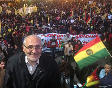 Carlos Mesa en la concentración ciudadana en la Plaza de San Francisco por el No a la repostulación