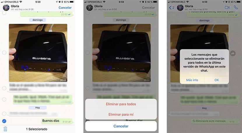 Elmiinar mensajes enviados de WhatsApp en el iPhone